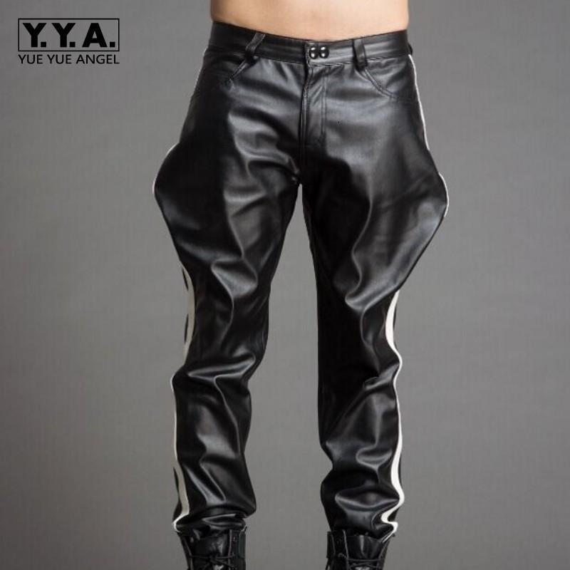 Haute qualité luxe Hommes Pantalon noir Pu Pantalon Homme en cuir Casual Loose Fit Pantalons Streetwear Pantalons Moto Plus Size