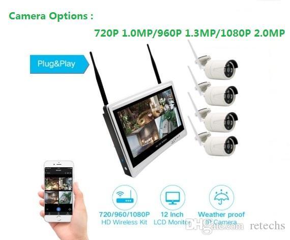Cámara Plug and Play Wifi de 4 canales Monitor inalámbrico LCD de 12 '' Sistema de seguridad CCTV NVR Sistema de vigilancia H.265 de 4 canales