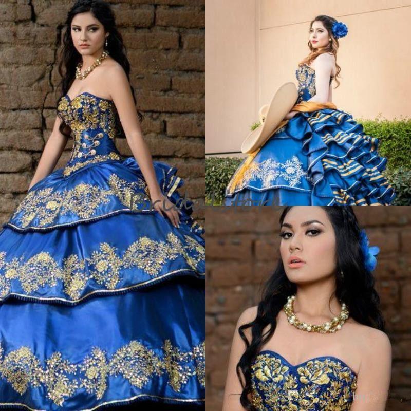 Vestidos del partido de baile formal de novia riza gradas de azul real del lujo del bordado vestidos de quinceañera mexicana Vestidos de quinceañera Elegantes