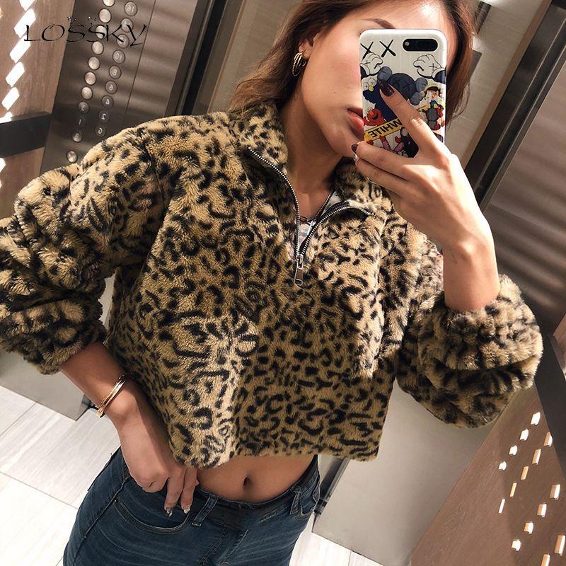 Lossky Sweatshirts geerntete Tops Herbst-Winter-Frauen-kurz-Leopard-Druck Straße Zip Up Pullover Pastell Kleidung 2019 Sweat Femme
