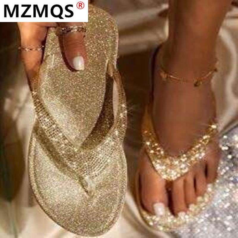 Las mujeres sandalias diamantes de imitación Mujer Roma 2020 de manera femenino de los zapatos del verano del Rhinestone de las sandalias de los zapatos de las mujeres flip-flop Chaussures Hembra