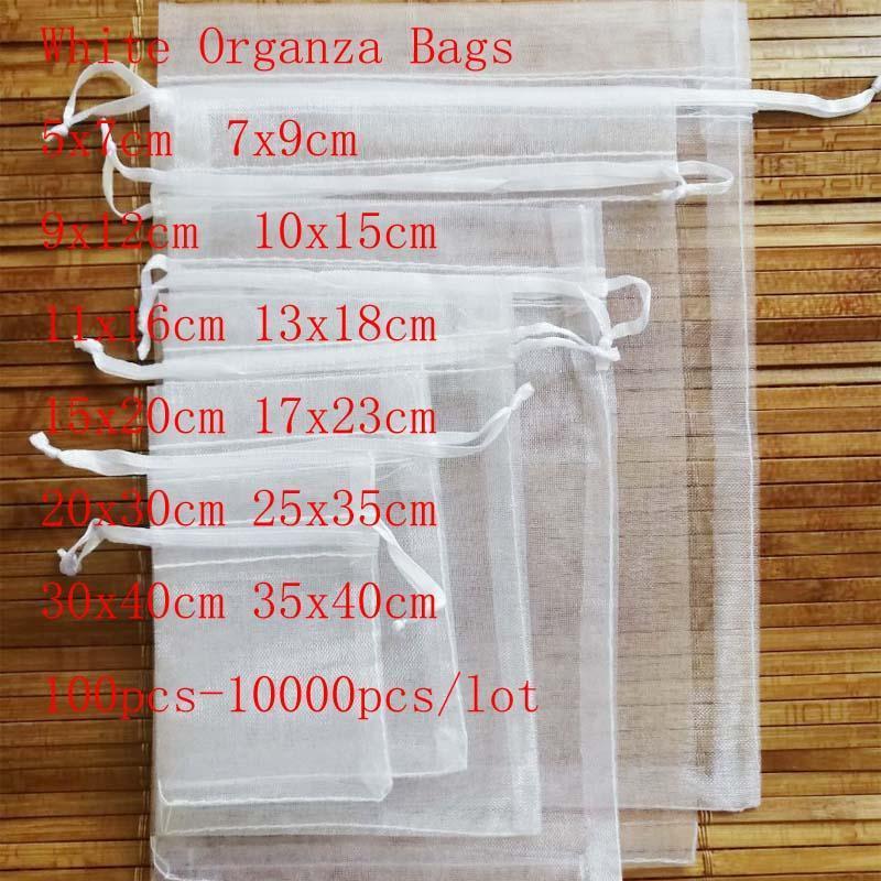Vente en gros 100 pcs / lot blanc cordon d'organza sacssmall pochettes bijoux sacs de package de noël emballage de mariage sacs cadeau lrewh