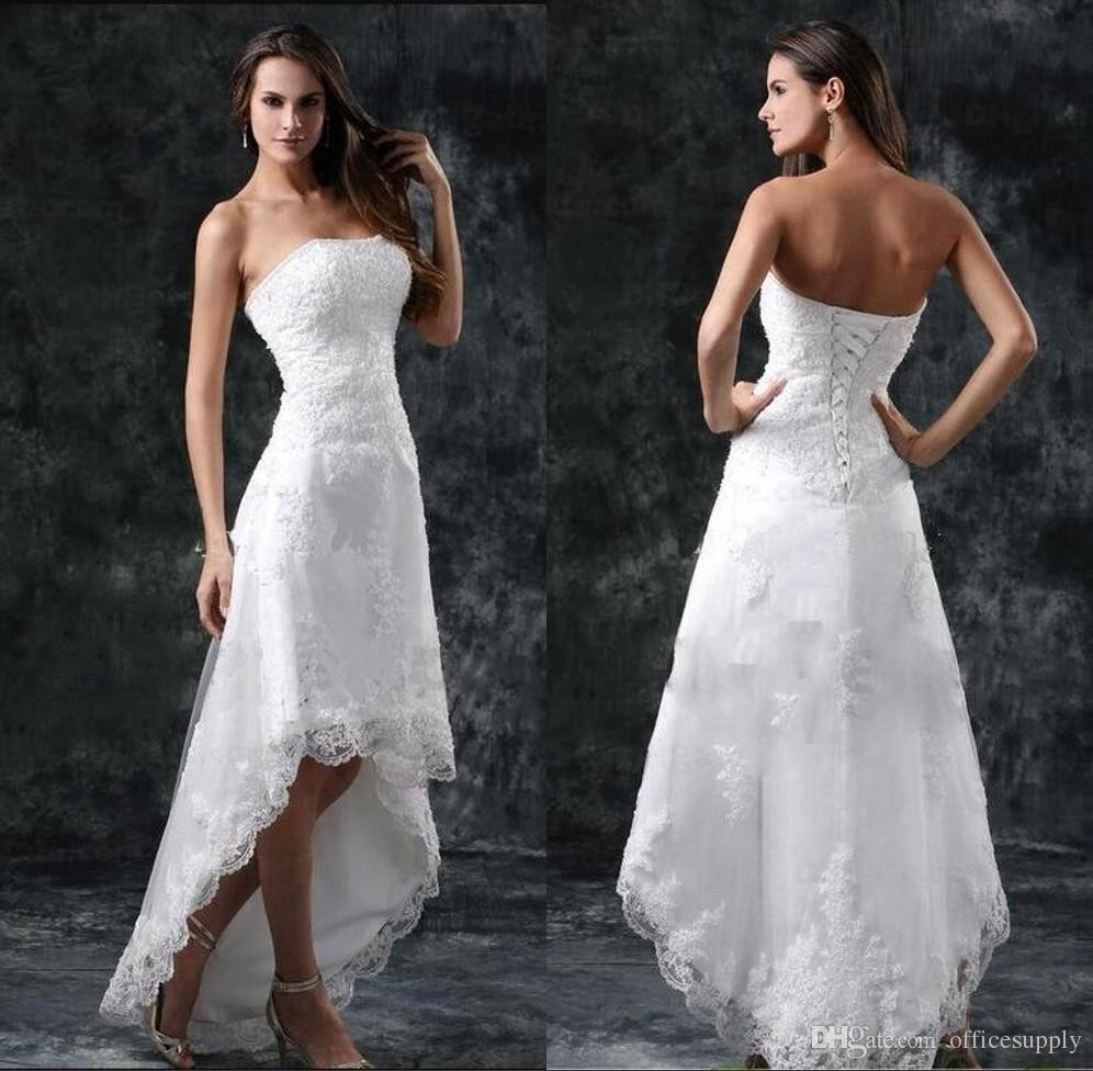 Cheap Wedding Dresses Sexy Strapless Appliques Lace High Low Little White Ivory Lace Up Back Summer Beach Short Bridal Gowns
