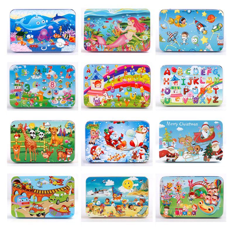 60pcs rompecabezas de madera de dibujos animados animales alfabetos números vehículos rompecabezas con caja de hierro bebé juguete de aprendizaje temprano para niños regalo de navidad