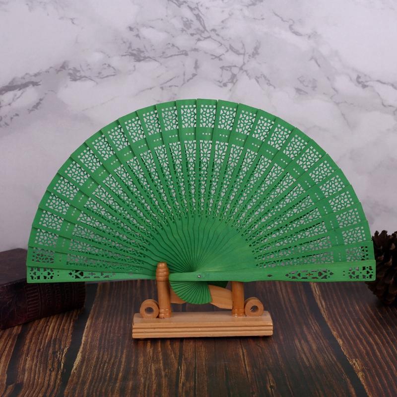 8 pollici Cinese Giapponese Ventaglio pieghevole originale in legno fiore della mano decorazione di bambù tasca ventilatore per la decorazione domestica del partito