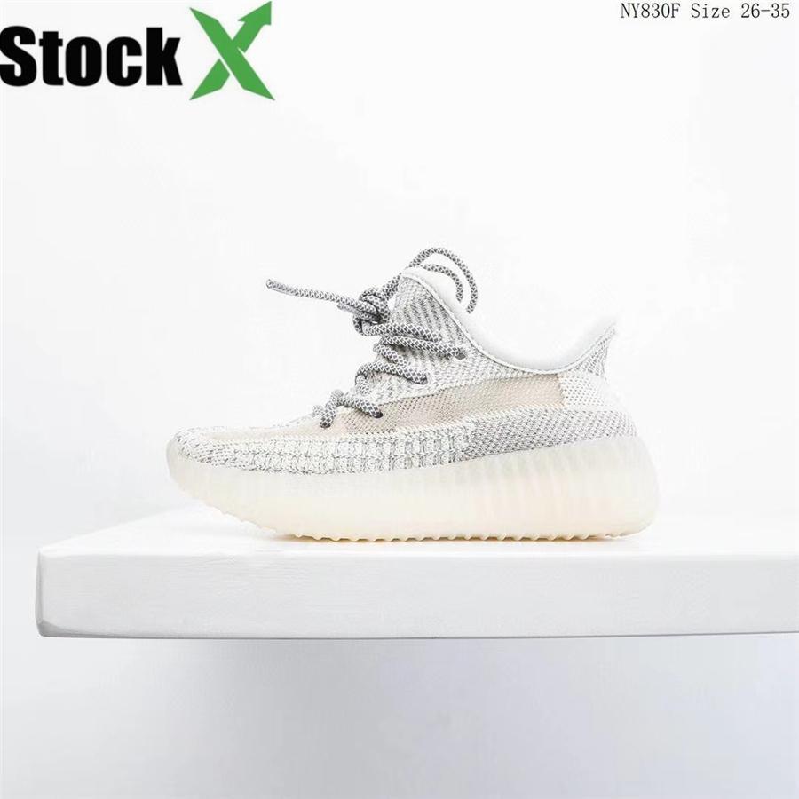 Vente Hot Chaussures bébé Enfants Zèbre Kanye West Chaussures de course Noir Reflective V2 Chaussures de sport Chaussures de sport Soigneur Gris # 932