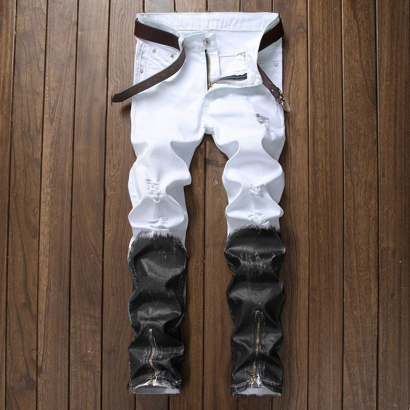 Fashion-Zipper Fly Denim Jean Fashion Designer Pants 2018 جديد وصول جينز للرجال جينز ممزق جينز مستقيم بنطلون جينز أبيض أسود