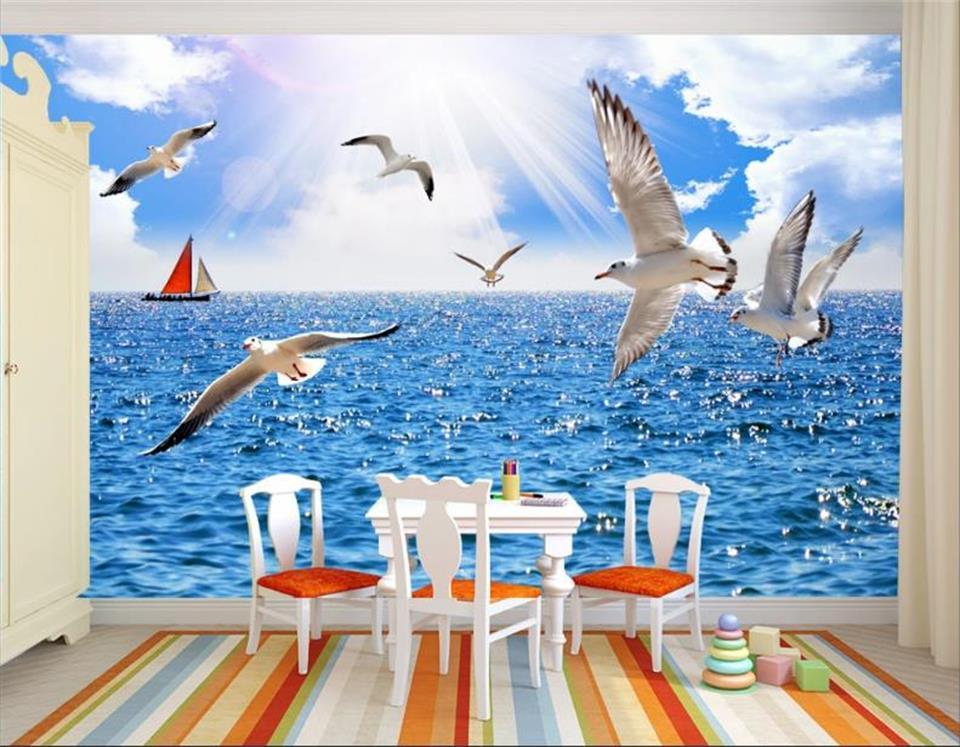 PERSONNALISÉ vie 3d fond d'écran photo chambre lits chambre enfants image voler goéland méditerranéen canapé sticker mural de papier peint de toile de fond TV