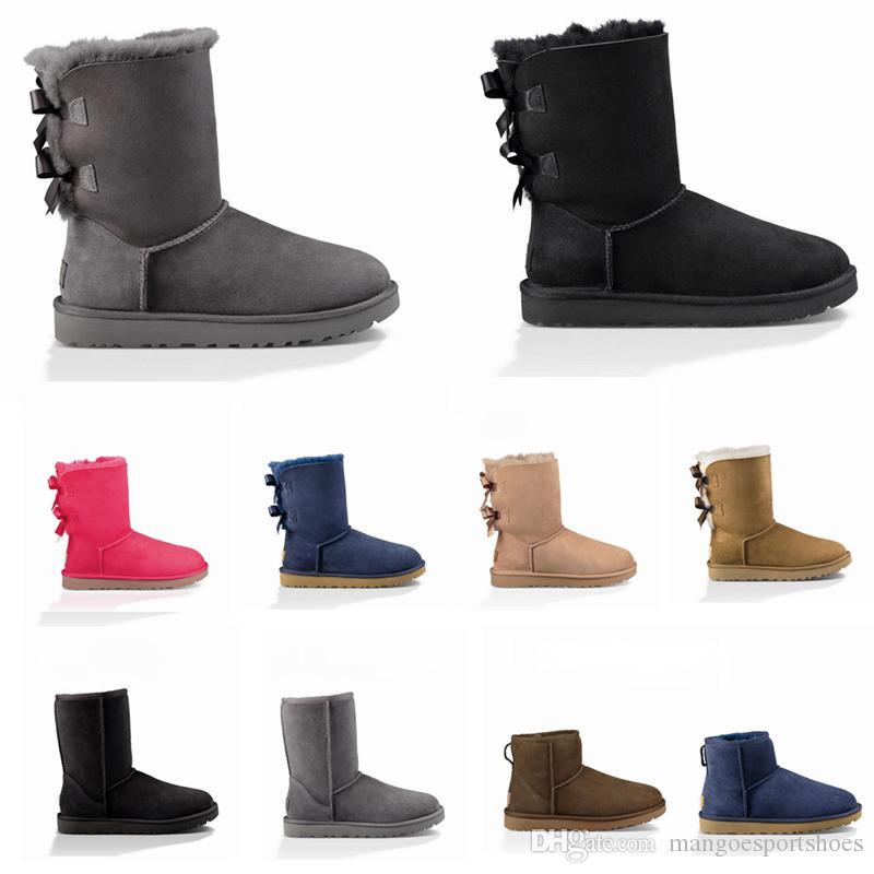 2020 مصمم رخيصة أستراليا المرأة الكلاسيكية حذاء الثلوج الكاحل قصيرة التمهيد الفراء القوس لفصل الشتاء الأسود كستنائي الأزياء أحذية للنساء الحجم 36-41