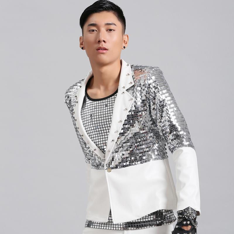 Jazz Costume Nightclub Male Singer Bar DJ Silver Sequin Clothing Suit Leather Show Costumes Men Stage Show Jacket Coat DNV10075