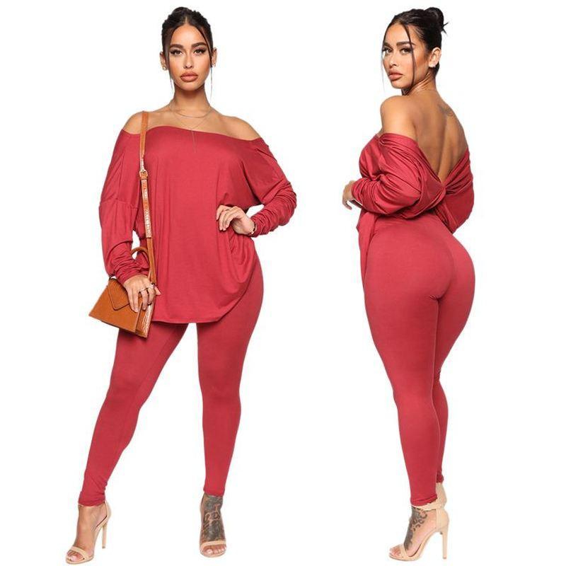 Passende Frauen Set Outfit 2 Stück-Satz-beiläufige Schulterfrei lose geöffnetes zurück Bluse Fashion Zweiteiler Hosen-Anzug Frauen Kleidung