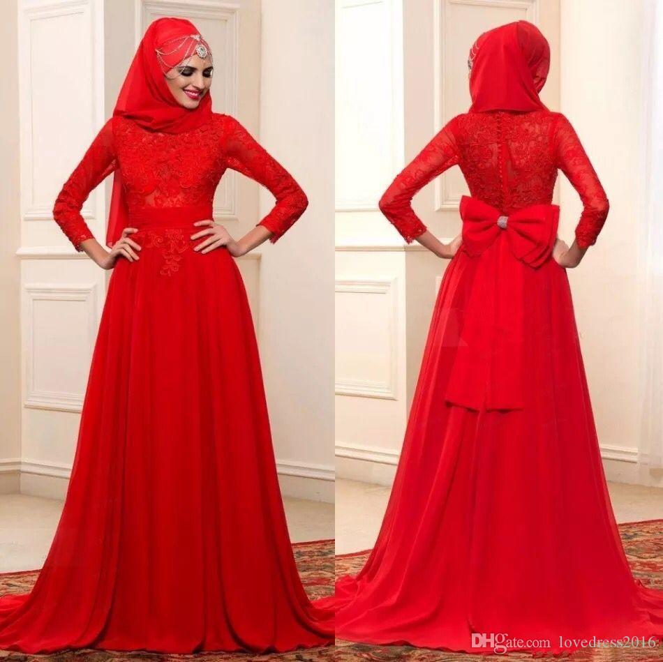Festival Red Muslim Wedding Dresses with Bow Buttons Back Lace Long Sleeves Wedding Gowns Arabic A Line Dress for Bride