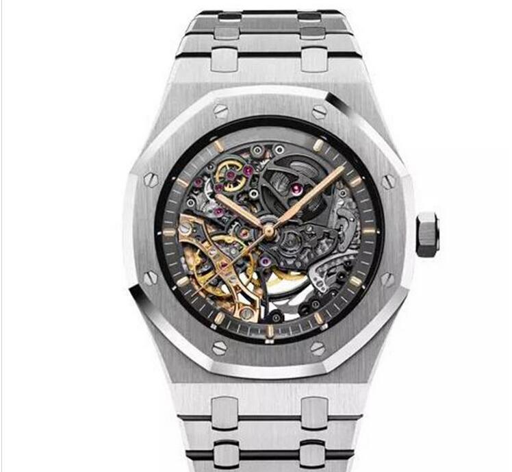 ساعة جيدة المحدودة مزدوجة عجلة التوازن Openworked الساعات الفولاذ المقاوم للصدأ الأسود الهاتفي 15407 ووتش 41mm وساعة اليد للرجال
