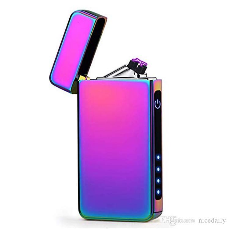 Плазменная зажигалка Dual Arc USB перезаряжаемая ветрозащитная беспламенная бутан электрический зажигалка для сигар, свечи зажигалка с подарочной коробке