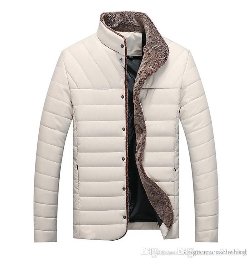 Kış Tasarımcı İnce Erkek ceketler Yaka Uzun Kollu Erkek Palto Casual Kalın Erkek Outerwears Isınma Standı