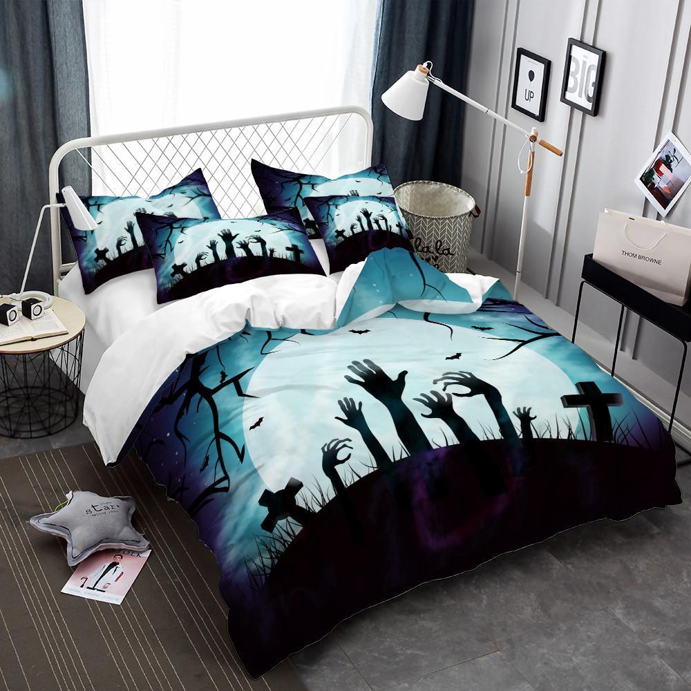 Zombie Juego de cama Fantasía de dibujos animados de Halloween Impresión de la mano Funda nórdica Juego Dark Blue Moon Noche Ropa de cama Funda de almohada Cubierta de cama D40