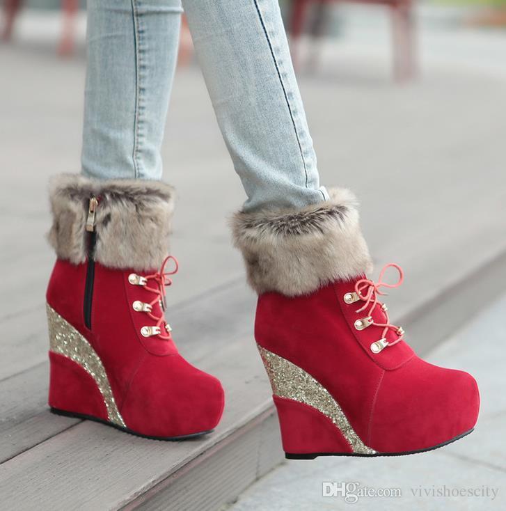 Luxus-Designer Frau Ankle Booties dicke Fell Winterstiefel mit Pailetten Plattform Keil Designer Stiefel Größe 33 bis 42 43