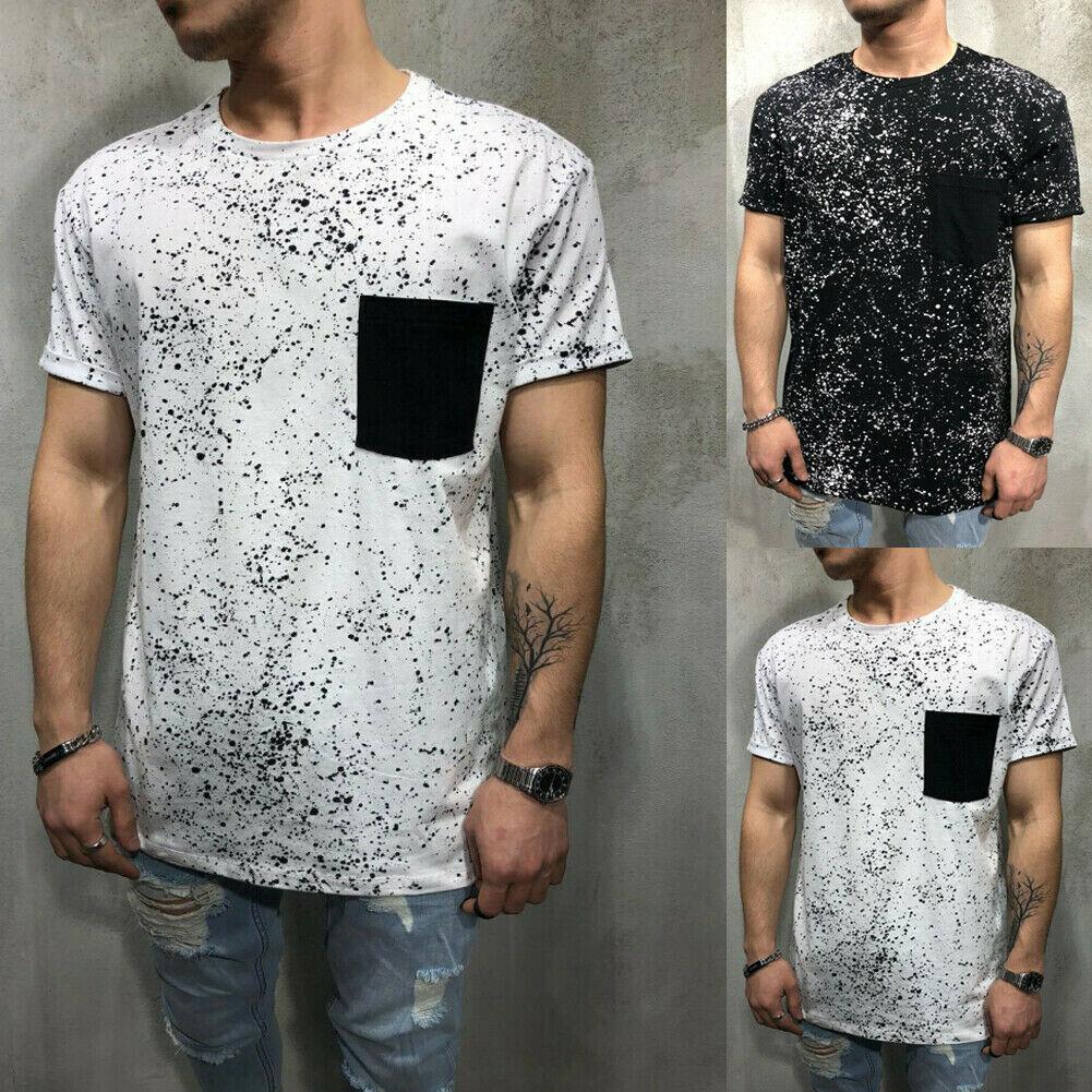 Sommer Art und Weise Männer Slim Fit O-Ausschnitt Kurzarm-T-Shirt Sparkle-Punkt-Aufkleber Taschen-Muskel-T-Stück beiläufigen Schwarz-Weiß T-Shirt Tops