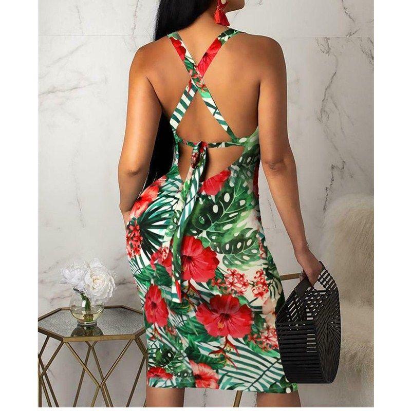 Мода Женщины Дамы Без Рукавов Лето Boho Цветочный Пляж Повседневная Slim Fit Сарафан Плотный Сексуальный Слинг Гавайское Платье