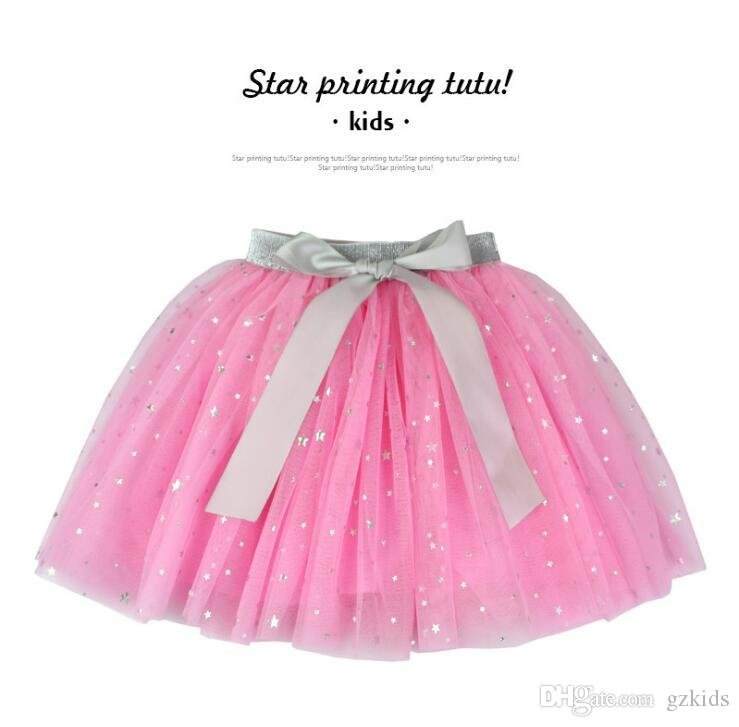 European and American Children's Gold-stamped Half-length Skirt Star Dance Pengpeng Skirt ins Children's Clothes free shipping