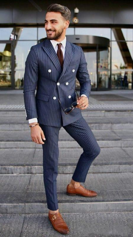 New Navy Blue Groom Tuxedos Double-Breasted Men Wedding Suits 2 Pieces Fashion Stripes Tuxedo Blazer Pants Men Suits Set