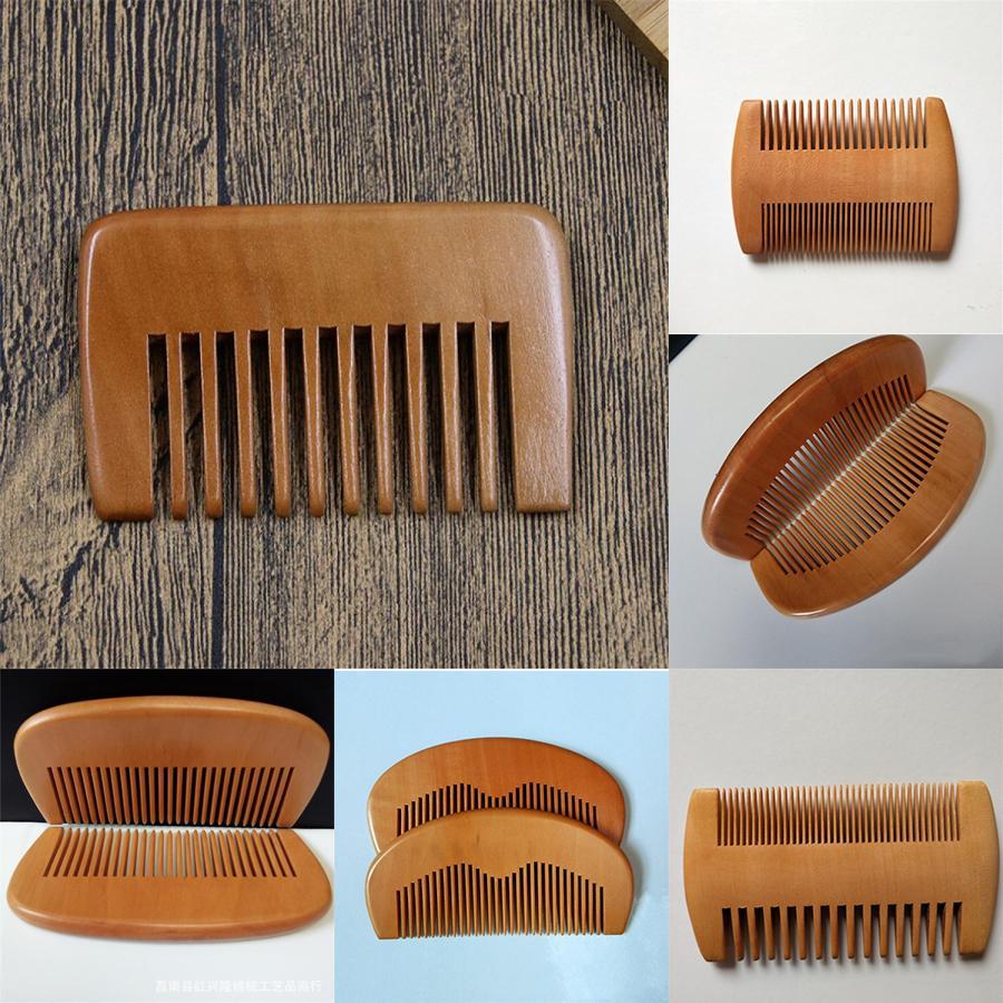 دقيق الخشب مشط اللحية مشط مخصص شعار كومز الليزر منقوش خشبي مشط الشعر للنساء رجال والنساء الاستمالة XD23241