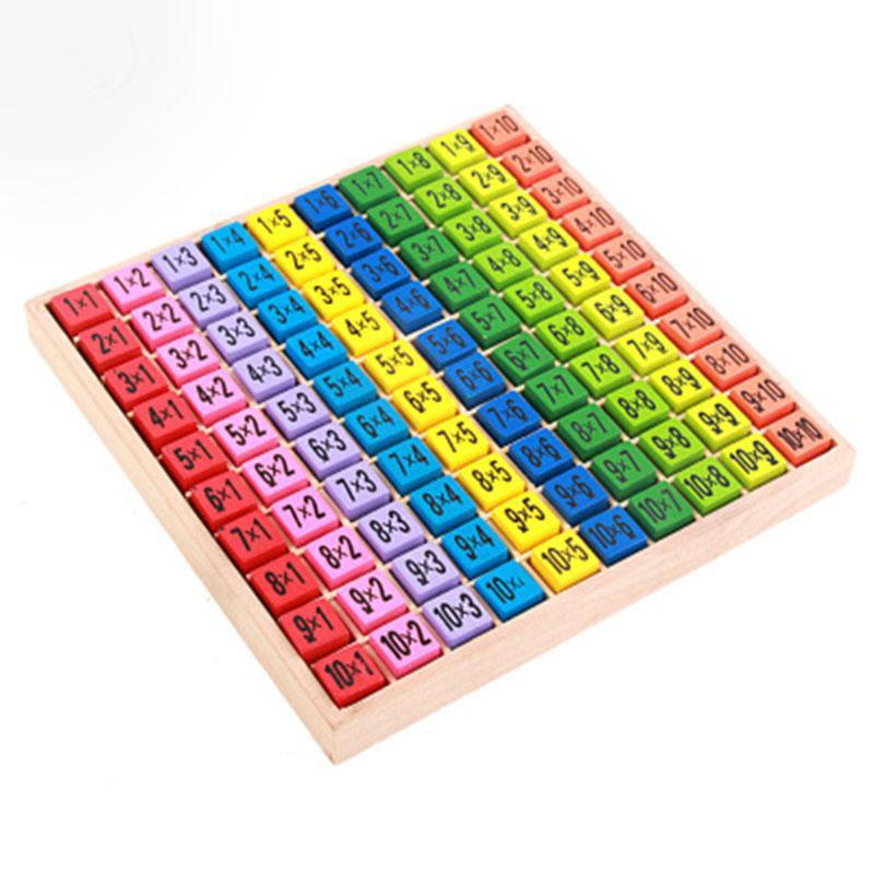 Modelo de madera Tabla de multiplicación Matemáticas Juguetes 10x10 lateral doble placa de circuito impreso de colores de madera Figura Bloque niños juguetes educativos LA358