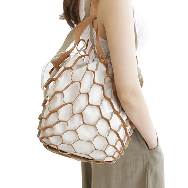 FGGS-Hollow Out Mesh Leather Bags Summer Beach Bag Handbags Bucket Bag Leisure Large Capacity Fur Women Composite brown