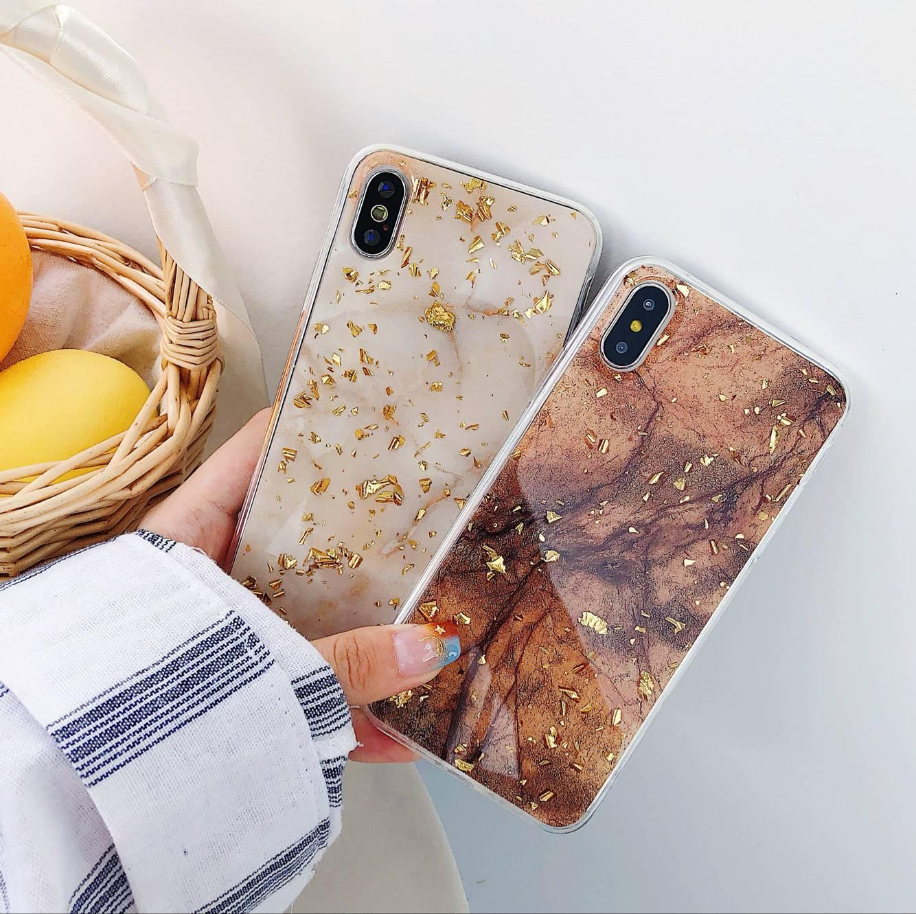 half off 9b065 d147d Gold Foil Bling Marble Phone Case For IPhone X XS Max XR Soft TPU Cover For  IPhone 7 8 6 6s Plus Glitter Case Coque Bedazzled Phone Cases Cell Phone ...