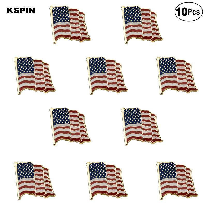 Bandera de la solapa del indicador Forma U.S.A. mosca Pin Pin Broche 10pcs mucho