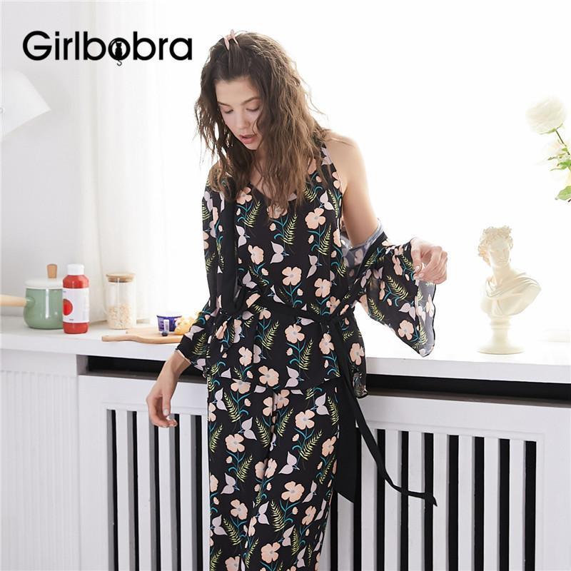 3Pcs Pijamas Flower Set Doce Padrão da Mulher manga comprida solta Cozy Home Suit pijama