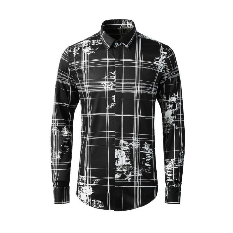 carreaux en coton chemises pour hommes de la mode printemps longues manches imprimer des fleurs célèbres de la personnalité de taille de haute qualité M L XL XXL XXXL 4XL