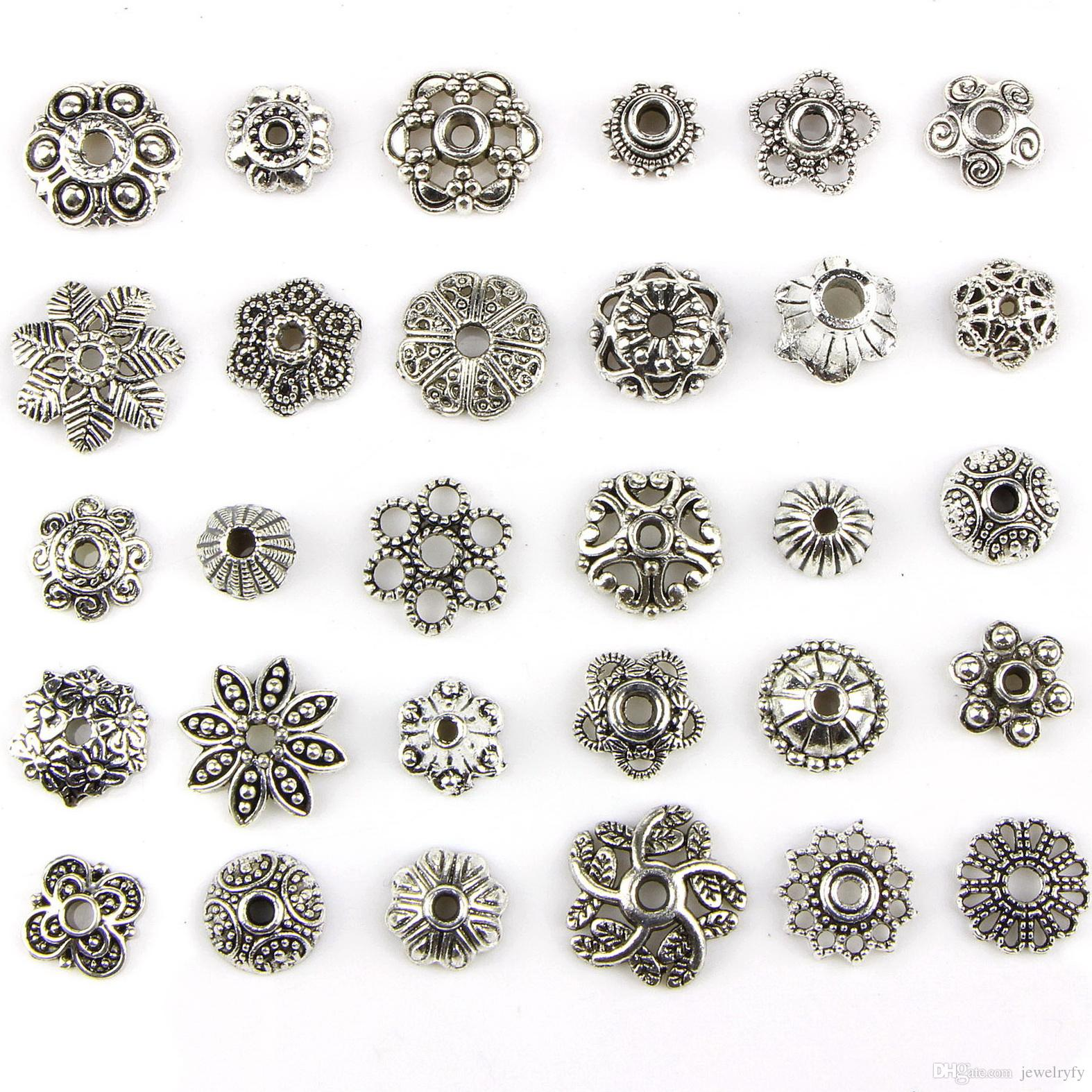 Assorted 30 Designs Antique Silver Flower Petal Decorative Pattern Pendant Charms Perforated Metal Spacer Beads DIY Jewelry Making 30pcs/set