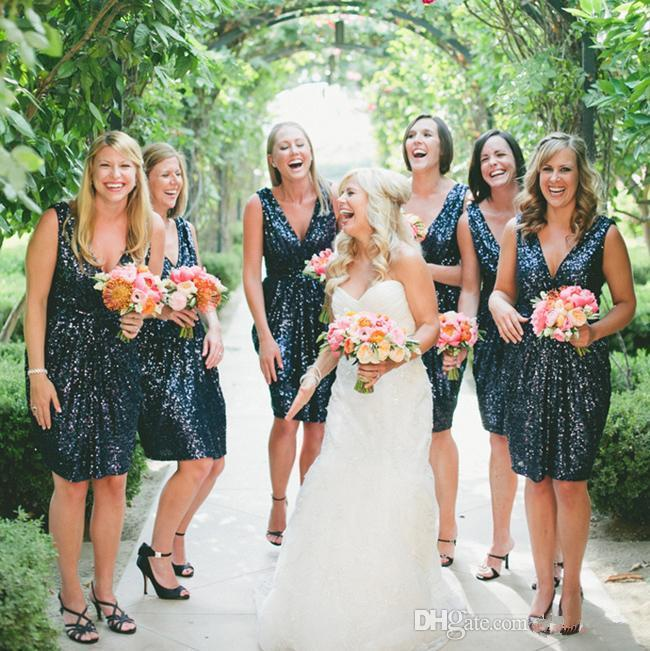 Sparkling Navy Blue Sequins Short Bridesmaid Dresses Sexy V Neck Wedding Party Guest Gown Junior Maid of Honor Dress Cheap