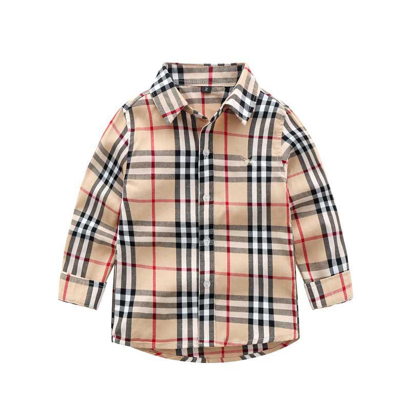 2020 Erkekler Gömlek Uzun Kollu Yaka Bahar Giysileri Çocuk Giyim Sonbahar Slim Fit All-maç dibe Gömlek Çocuk Pamuk Ekose Gömlek