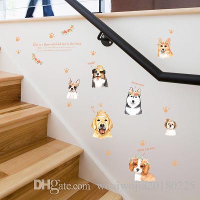 20190621 Criativo dos desenhos animados pintados à mão filhote de cachorro adesivo de parede pet shop quarto cabeceira fundo decoração auto-adesivo adesivo de parede