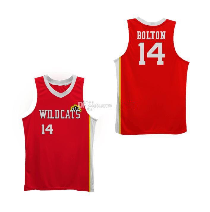 # 14 ZAC Efron Troja Bolton East High School Wildkatzen Retro Klassische Basketball Jersey Mens Nähte benutzerdefinierte Nummernname Trikots