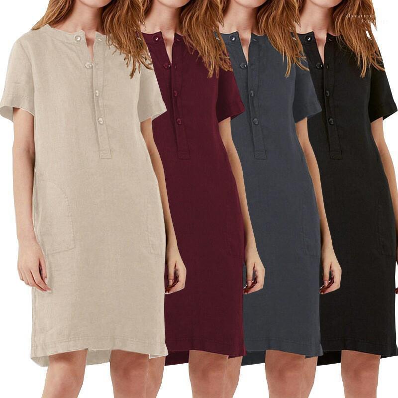 Платья Женская Линия Повседневное Свободное Летнее Платье Сплошной Цвет Мода Удобные Короткие Рукава