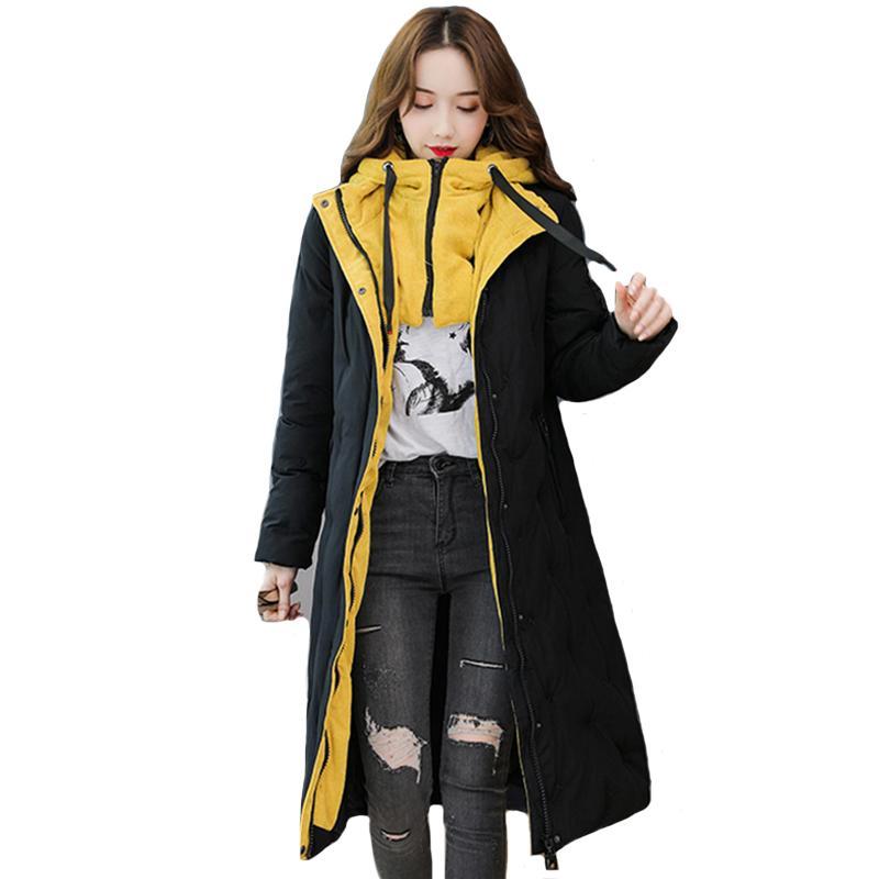 2019 nuovo arrivo giacca invernale con cappuccio donne stand collare di alta qualità Warm addensare femminile cappotto lungo parka Mujer Invierno