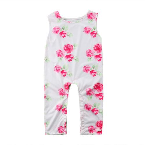 2018 Мода Baby Girl Одежда для новорожденных Повседневных Ромпер Хлопка Цветочного Лета Одежды без рукавов легкого костюм с шортами Комбинезон