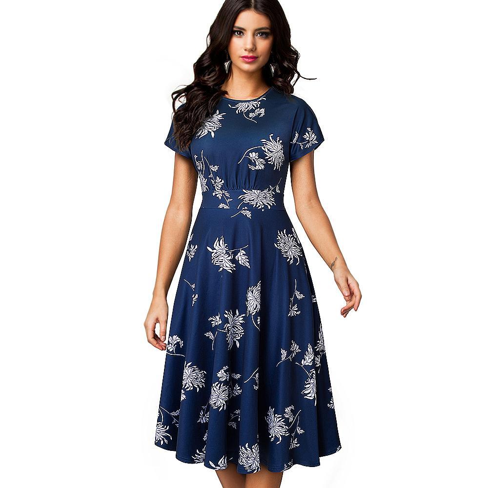 Sommer-Frauen-Kleid-elegante weiße Blumenkurzschluss-Hülsen-Frauen-Kleid-Büro-Partei Mittler-Kalb Vintage-A-Linie Kleid Vestidos