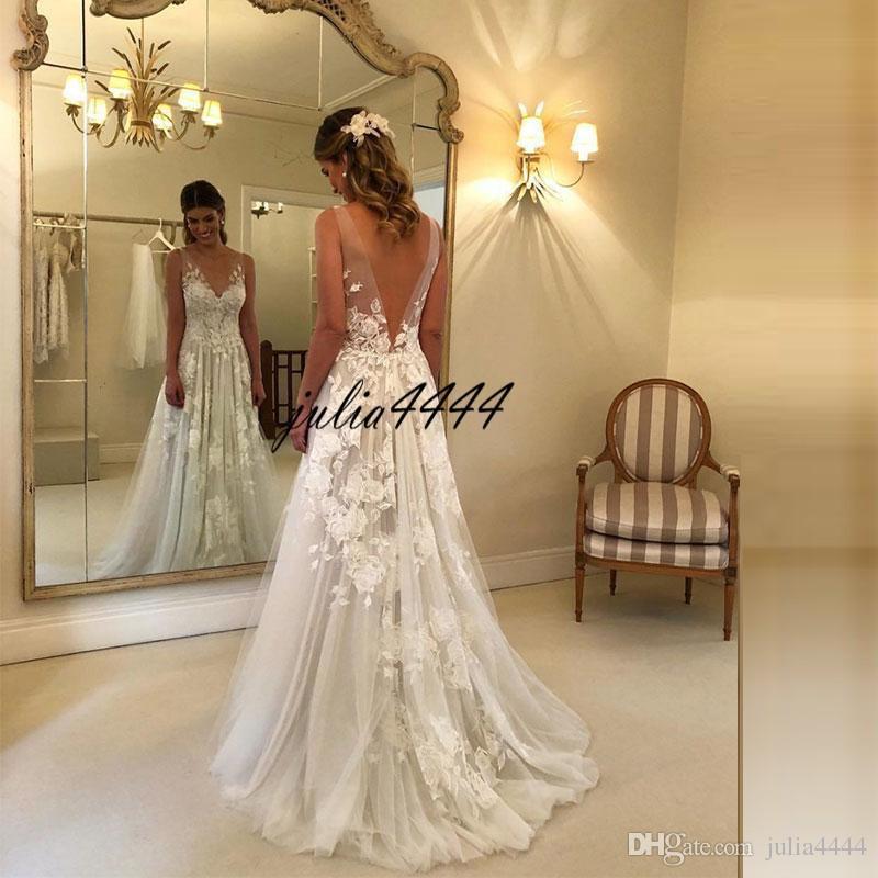 Artı Boyutu Dantel ülke Gelinlik A-Line Aplikler Ile V Boyun Gelin Törenlerinde Tül Boho Sahil Gelinlik Custom made robe de mariage