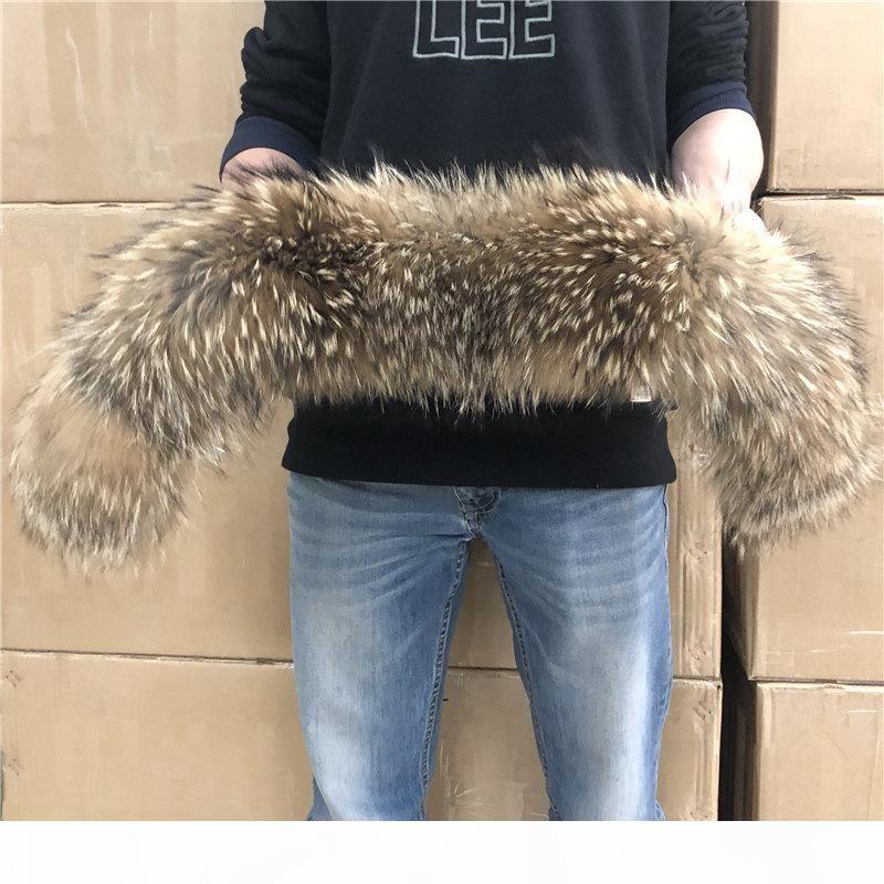 pellicce bambini delle donne collo di pelliccia naturale al 100% reale Raccoon della sciarpa della pelliccia per gli uomini del parka cappotti Maschio Collari Nero 50 60 70 90 centimetri SH190924
