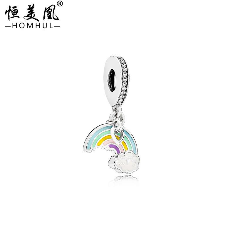 Yeni Otantik 925 Ayar Gümüş Boncuk Emaye Gökkuşağı Aşk Asılı Charm Fit Orijinal Pandora Bilezikler DIY Charms Takı