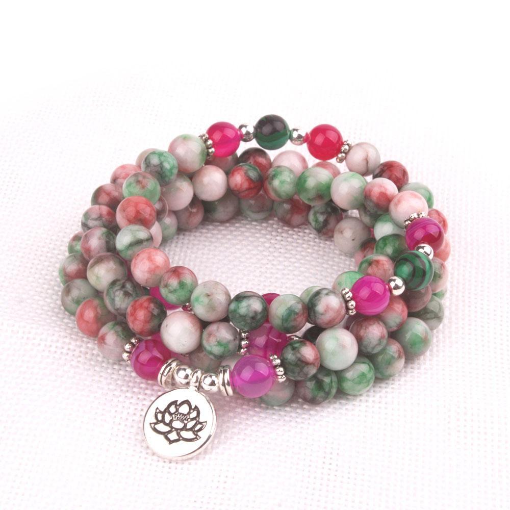 en stock de Mix Perles en pierre naturelle avec Lotus OM Bouddha Charm Bracelet pour les femmes 108 mala Yoga Bijoux cadeau