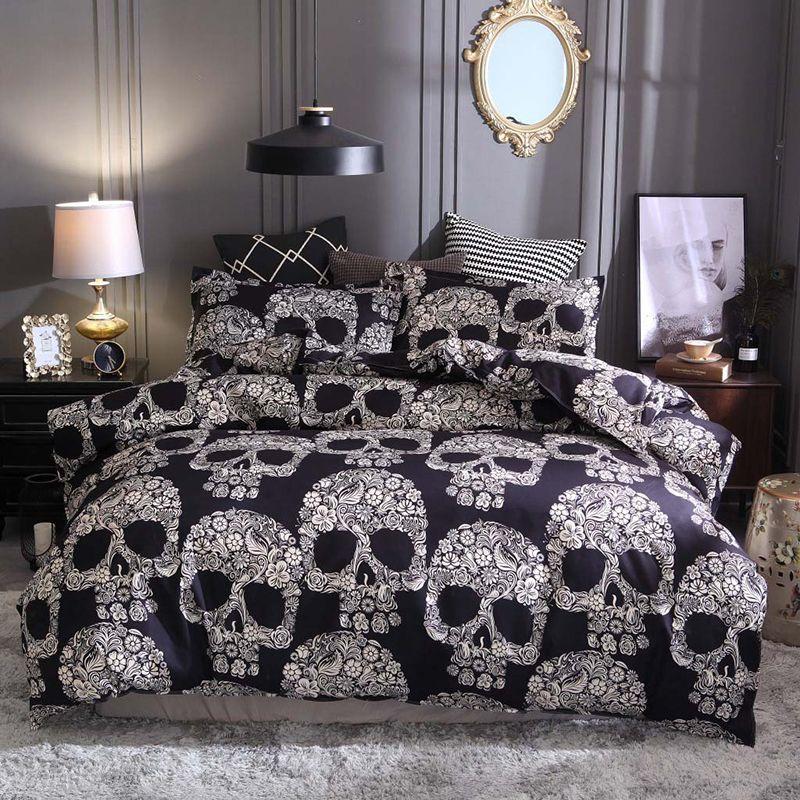 3D Skull Printed Bedding Sets Double Full Queen King AU EU US Size Duvet Cover With Pillowcase Set Black Sugar Skull Beddings 3pcs