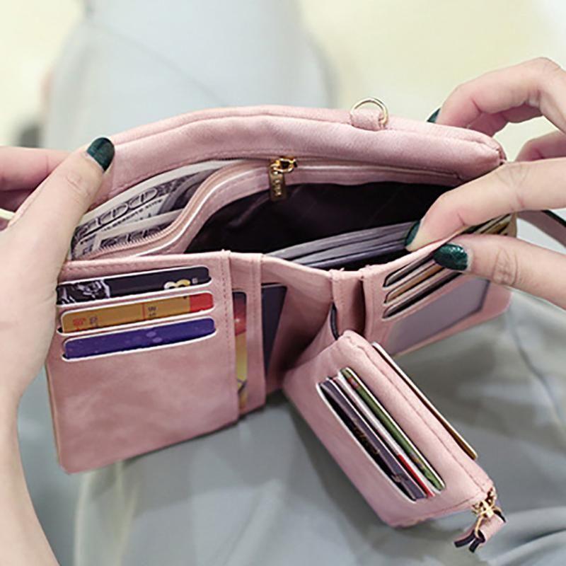 Carteras Mujeres Matte Casual Casual Color Color Pequeño Fresco Dos pliegues Bolsa de Embrague Monedero Monedero Ocio Tarjeta de tarjeta helada