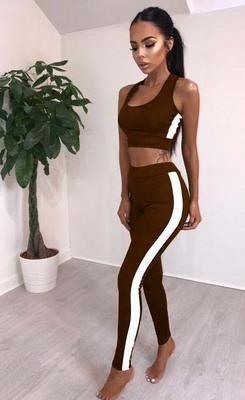 2019 дизайнерские летние сексуальные женские спортивные костюмы твердые женские Модные короткие майки с боковыми полосатыми узкими тощими длинными брюками 2 шт. Комплект оптом