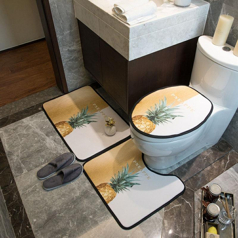 Personality Pineapple Printed Bath Mat Fashion Fruit Print Overcoat Toilet Case High Quality Home Toilet Seat Covers