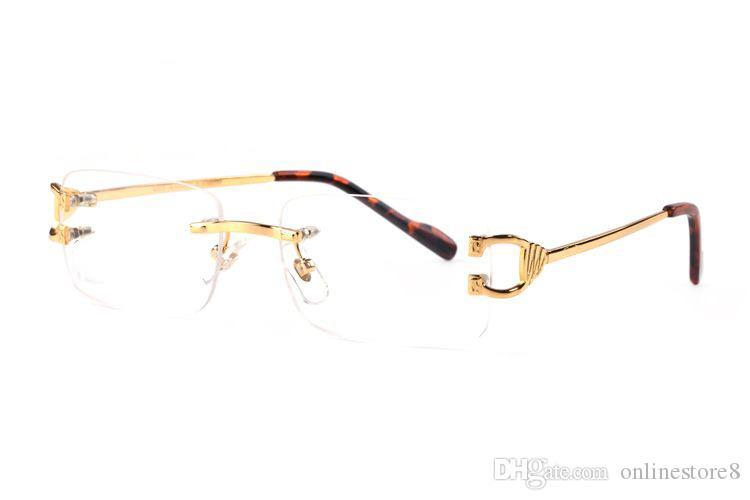 فرنسا العلامة التجارية مصمم النظارات قرن الجاموس مرآة عادي بدون إطار الأرجل المعدنية الذهبية والنظارات البصرية نظارات قصر هلالية دي سولي